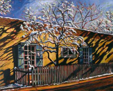 Snow Tree on Canyon Road, oil on canvas, KG Taylor, 1980's
