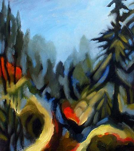 Pines and Mist, color sketch for painting, KG Taylor