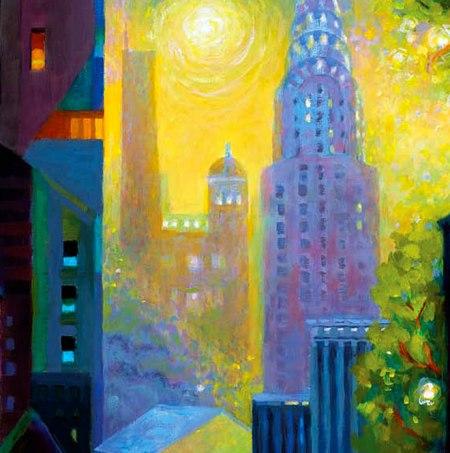 "Art Deco Dawn, detail, acrylic, 30"" x 30"", Karen Gillis Taylor"
