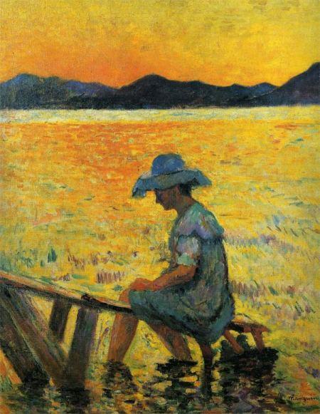 """Saint Tropez Sunset, Henri Manguin, oil, 32 x 19 1/4"""", Private colletction, 1904"""