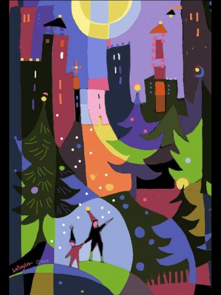 Snowy Night 1, color sketch by Karen Gillis Taylor, 2012