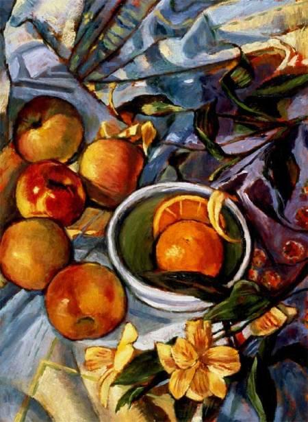 "Apples and an Orange, still life, oil, Karen Gillis Taylor, family collection, 16 x 20"""