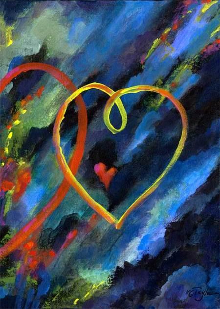 "Floating Hearts, acrylic, 11 x 14"", Karen Gillis Taylor"