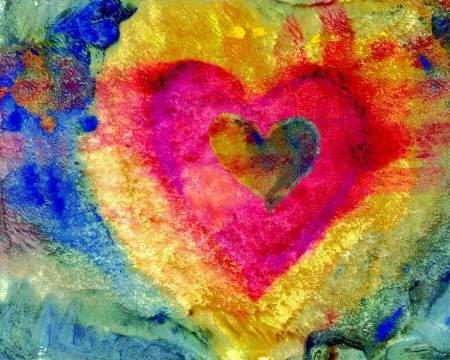 Heart Monoprint, oil, and digital media on paper, KGTaylor