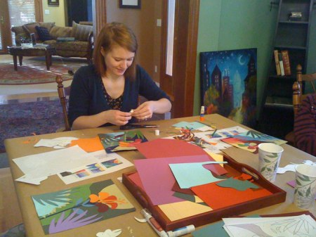 Color plans for an art quilt, with niece Lori Ann at work