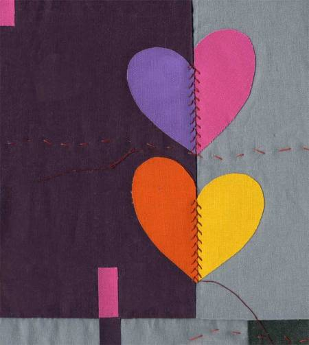 """""""Mending Hearts"""" quilt for class on designing with shapes and fabric, in progress"""