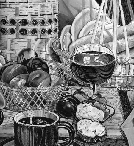 The Bread of Life, ink on paper, Karen Gillis Taylor