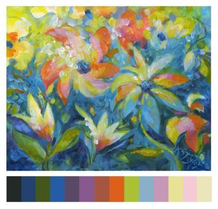 "Caribbean Floral, 8 x 10"" acrylic with palette, Karen Gillis Taylor, 2013"