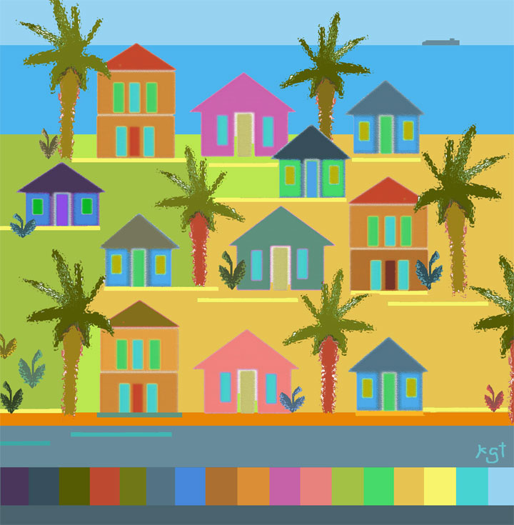 Tropical island paintings hue bliss color art notes for Tropical house color schemes