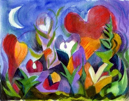 Cubist Heart Garden, watercolor and digital printmaking, Karen Gillis Taylor