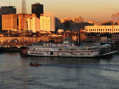 """Steamboat """"Natchez"""" at New Orleans, seen from the cruise ship """"Navigator of the Seas"""""""
