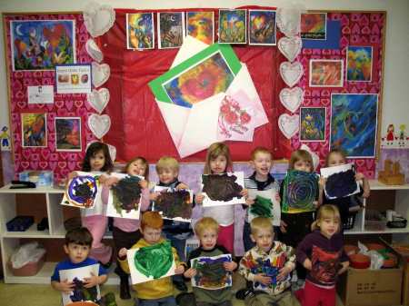 Preschool class Valentine activities with my heart art displayed big time on their walls!