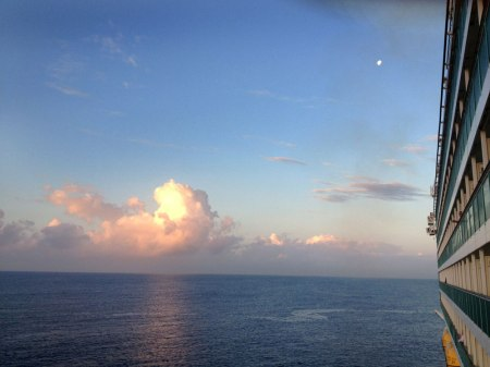 Morning view at sea, before landing in Jamaica, moon so tiny above