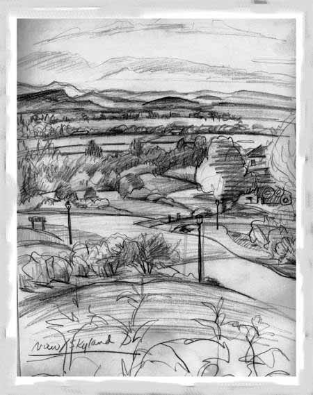 Original sketch of the view from Skyland, straight from the sketchbook.