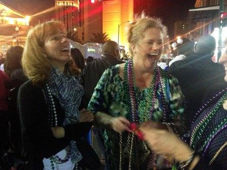 Susan and Laura at Mardi Gras parade, New Orleans, 2013