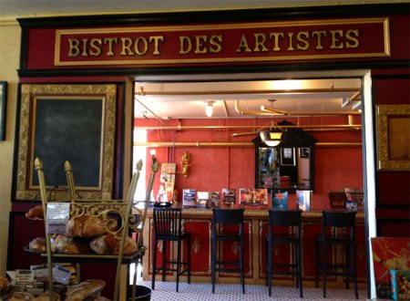 Entrance to dejeuner (lunch) at the Cheese Importers shop. The sign above the door, Bistro des Artistes compelled us to enter!