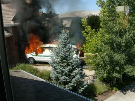 The summer the house caught fire, carpet cleaner van in the driveway