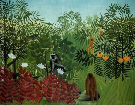 Tropical Forest With Apes and a Snake, Henri Rousseau