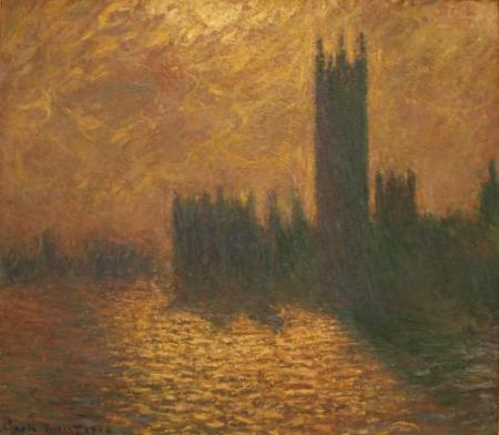 """London, The Houses of Parliment: Stormy Sky. 1904, Claude Monet"