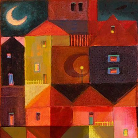 Moonville, acrylic painting, detail, Karen Gillis Taylor