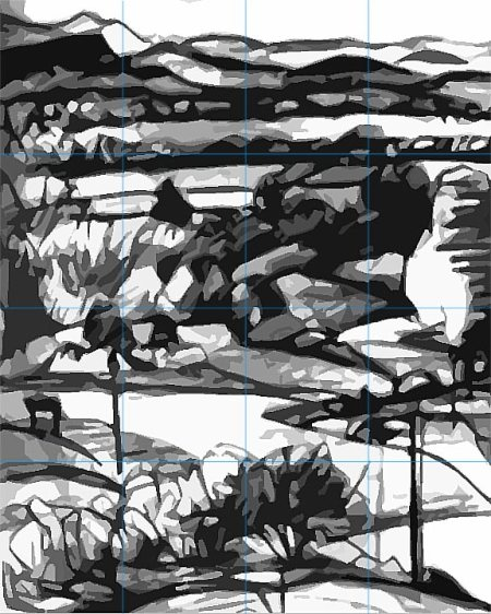 Grayscale value sketch for Niwot abstract landscape