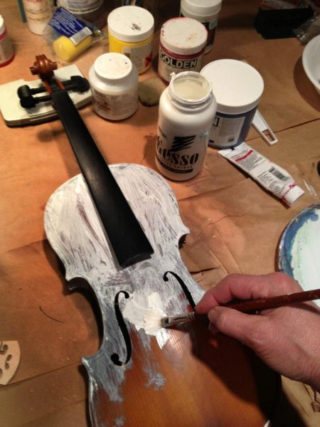 Prepping the violin with gesso, to paint for the DYAO fundraiser project due April.