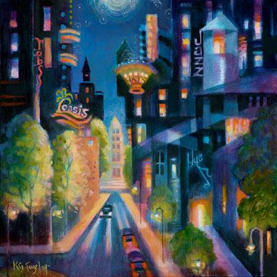 Jazz Town, Karen Gillis Taylor, acrylic