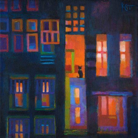 "Cat in Window, 12 x 12"", acrylic, Karen Gillis Taylor, 2012"