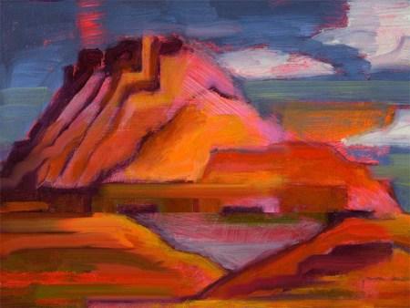 High Mesas in the Desert, oil and digital sketching, Karen Gillis Taylor, 2013