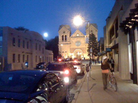Friend Judy with her bike, Cathedral background, Santa Fe