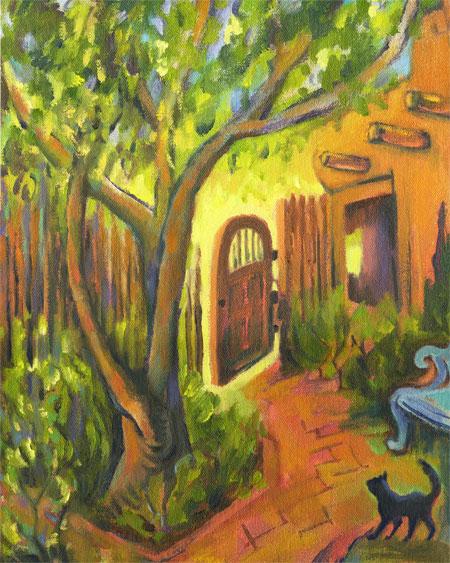 Judy's Courtyard, oil, Karen Gillis Taylor