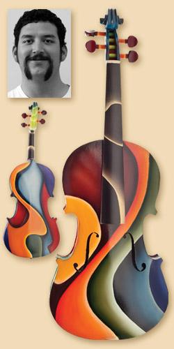 Painted violin, Antonio Maes, Oil