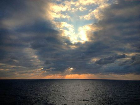 Sunrise Near Cozumel, Mexico, as seen from ship, McCall's Quilting Cruise, January, 2013