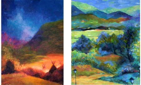 "Details of Karen's painting entries for Niwot show, 2012 and 2013, ""Why Not Niwot"""