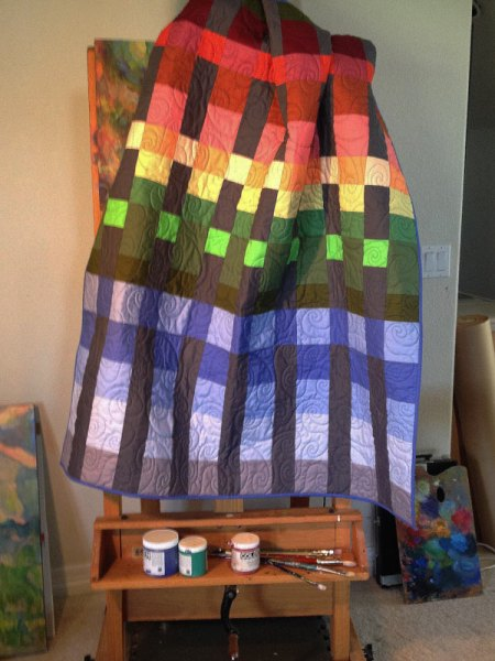 Sunset quilt in the studio