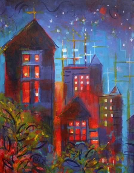 """""""June Town"""", 11 x 14"""", acrylic, Karen Gillis Taylor"""