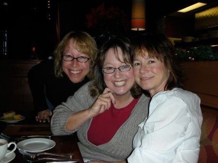 Sister Les, left, sister Deb, middle, me - Karen, right