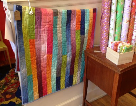 Jelly roll quilt made from Ombre fabrics