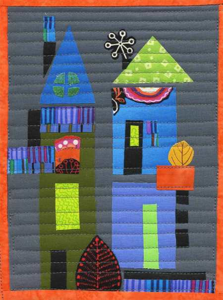 "Tiny town, practice version of quilting for future ""Our Little Town"" quilt, KGT"