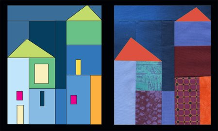 Left, color drawing for quilt block. Right, same block sewn up in fabrics with roofs added digitally for color testing