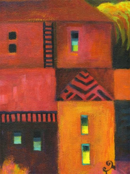 "Vertical Town with Vertical town with ladder detail, acrylic, from a 12 x 24"" painting, Karen Gillis Taylor"