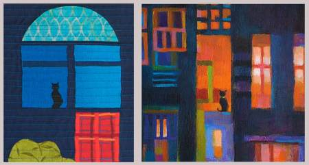 "Left, quilt detail. Right, ""Cat in Window"", acrylic painting detail from 12 x 12"" painting, Karen Gillis Taylor"