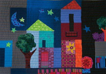 "The Moon Stars vignette, detail, ""Our LIttle Town"" quilt, Karen Gillis Taylor, 2013"