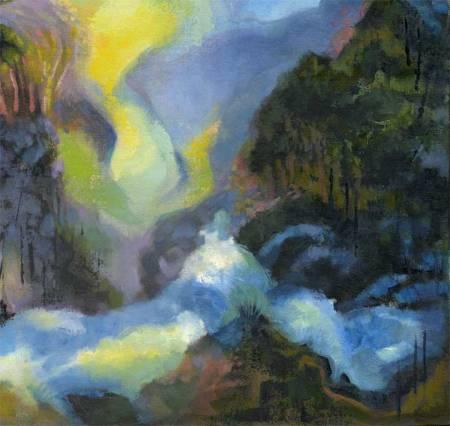 """Mysterious Rapids"", detail from a larger painting, acrylic, Karen Gillis Taylor"