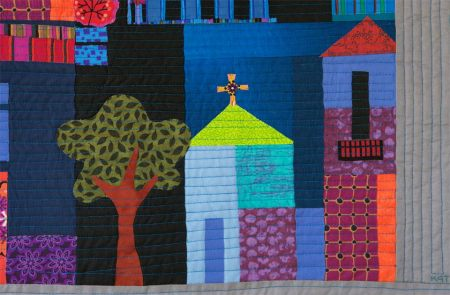 Detail with tree, lower right of quilt