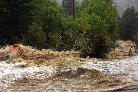 The South St. Vrain river is a torrent of raging water along Hwy 7 near the roadside community of Riverside, about 12 miles west of Lyons, CO. along Highway 7 on September 12, 2013.  (Photo By Helen H. Richardson/ The Denver Post)