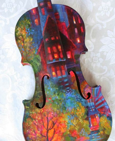 Painted Violin, Karen Gillis Taylor, 2013 DYAO fundraiser, front detail