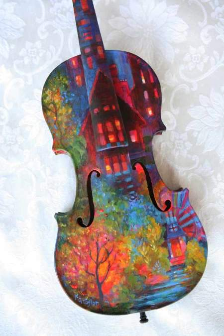 Painted Violin body, front view finished