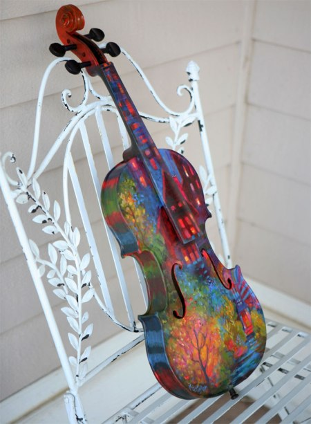 Painted violin side view