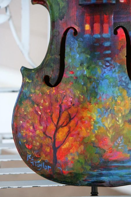 Painted violin detail front left, KGT